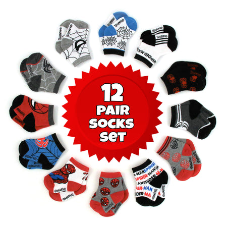 Marvel Spiderman 12 Pair Assorted Color Socks Set, Baby Boys, Age 0-24 Months - The Accessories Outlet