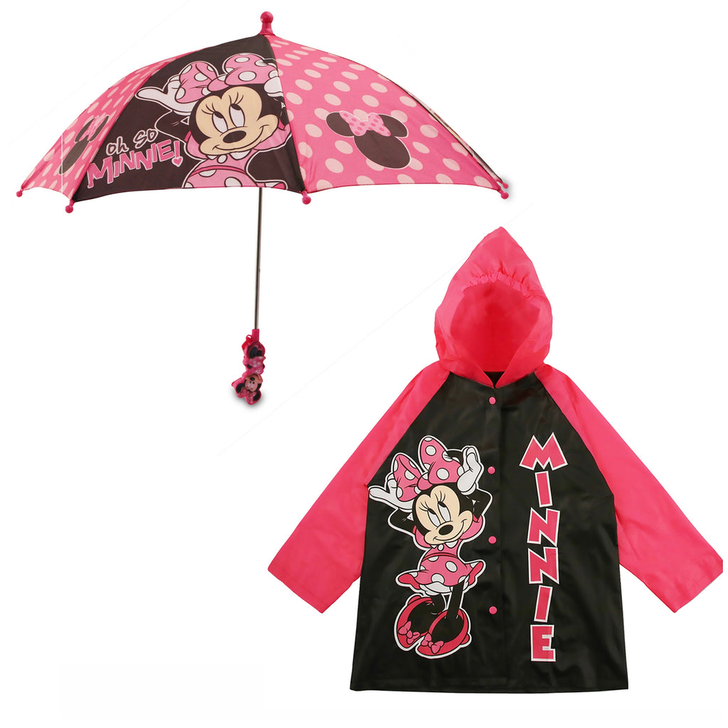 Disney Minnie Mouse Slicker and Umbrella Rainwear Set, Little Girls, Age 2-7 - The Accessories Outlet