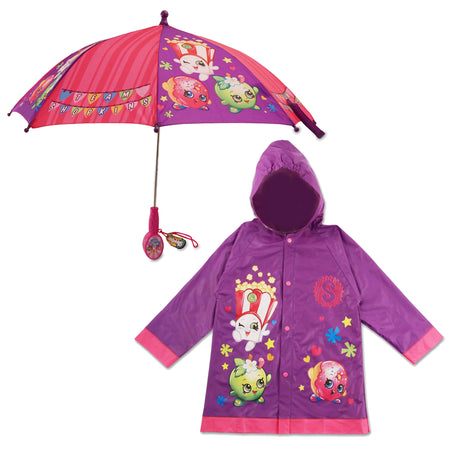Shopkins Character Slicker and Umbrella Rainwear Set, Little Girls, Age 2-7 - The Accessories Outlet