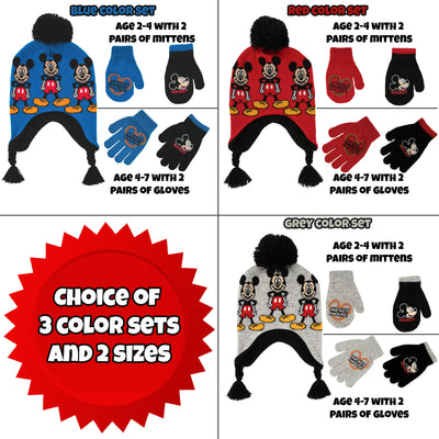 Disney Little Boys Mickey Mouse Hat and 2 Pair Gloves/Mittens Cold Weather Set, Ages 2-7 - Accessory Place