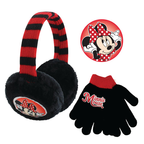 Disney Minnie Mouse Earmuff and Gloves Cold Weather Set, Little Girls, Age 4-7