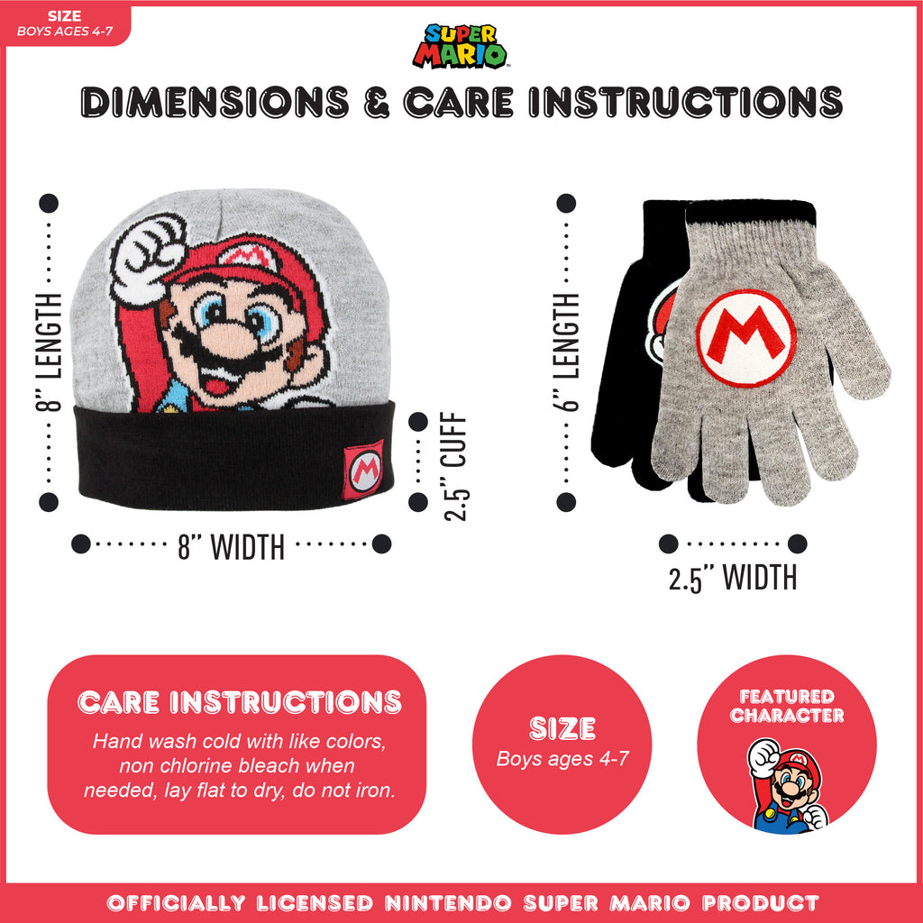 Nintendo Mario Reversible Hat and and 2 Pair Gloves Cold Weather Set, Little Boys, Age 4-7 - Accessory Place