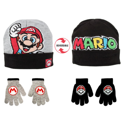Nintendo Mario Reversible Hat and and 2 Pair Gloves Cold Weather Set, Little Boys, Age 4-7 - The Accessories Outlet