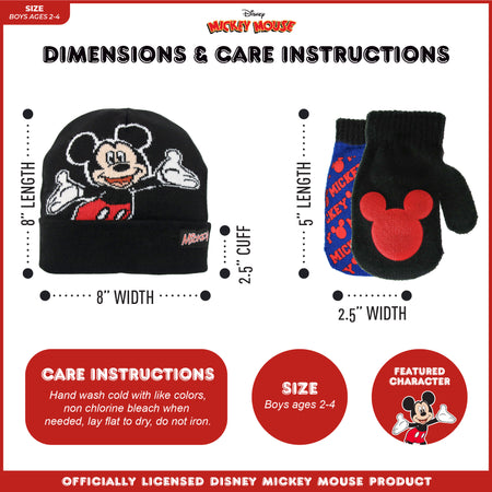 Disney Mickey Mouse Clubhouse Reversible Hat and 2 Pair Mitten Cold Weather set, Toddler Boys, Age 2-4 - The Accessories Outlet