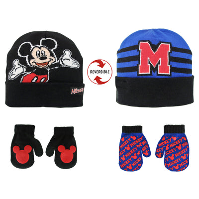 Disney Mickey Mouse Clubhouse Reversible Hat and 2 Pair Mitten Cold Weather set, Toddler Boys, Age 2-4 - Accessory Place