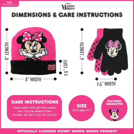 Disney Minnie Mouse Reversible Hat and 2 Pair Mittens or Gloves Cold Weather Set, Toddler Girls, Age 2-4 or Little Girls, Age 4-7