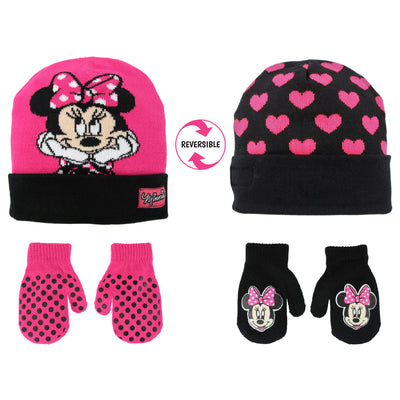 Disney Minnie Mouse Reversible Hat and 2 Pair Mittens or Gloves Cold Weather Set, Toddler Girls, Age 2-4 or Little Girls, Age 4-7 - The Accessories Outlet