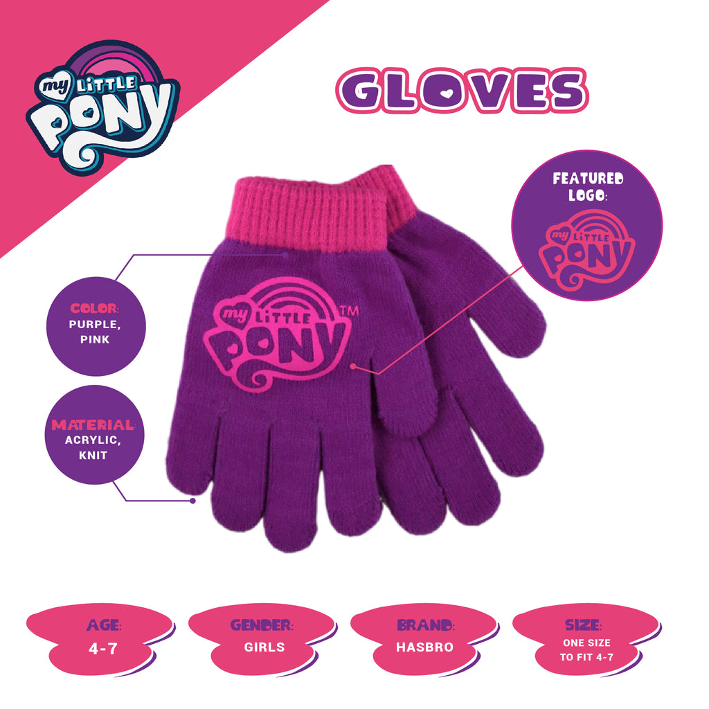 Hasbro My Little Pony Earmuff and Glove Cold Weather set, Little Girls, Age 4-7 - The Accessories Outlet