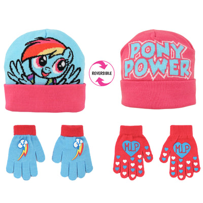 Hasbro My Little Pony Reversible Hat and 2 Pair Mittens Cold Weather Set, Toddler Girls, Age 2-4 - The Accessories Outlet