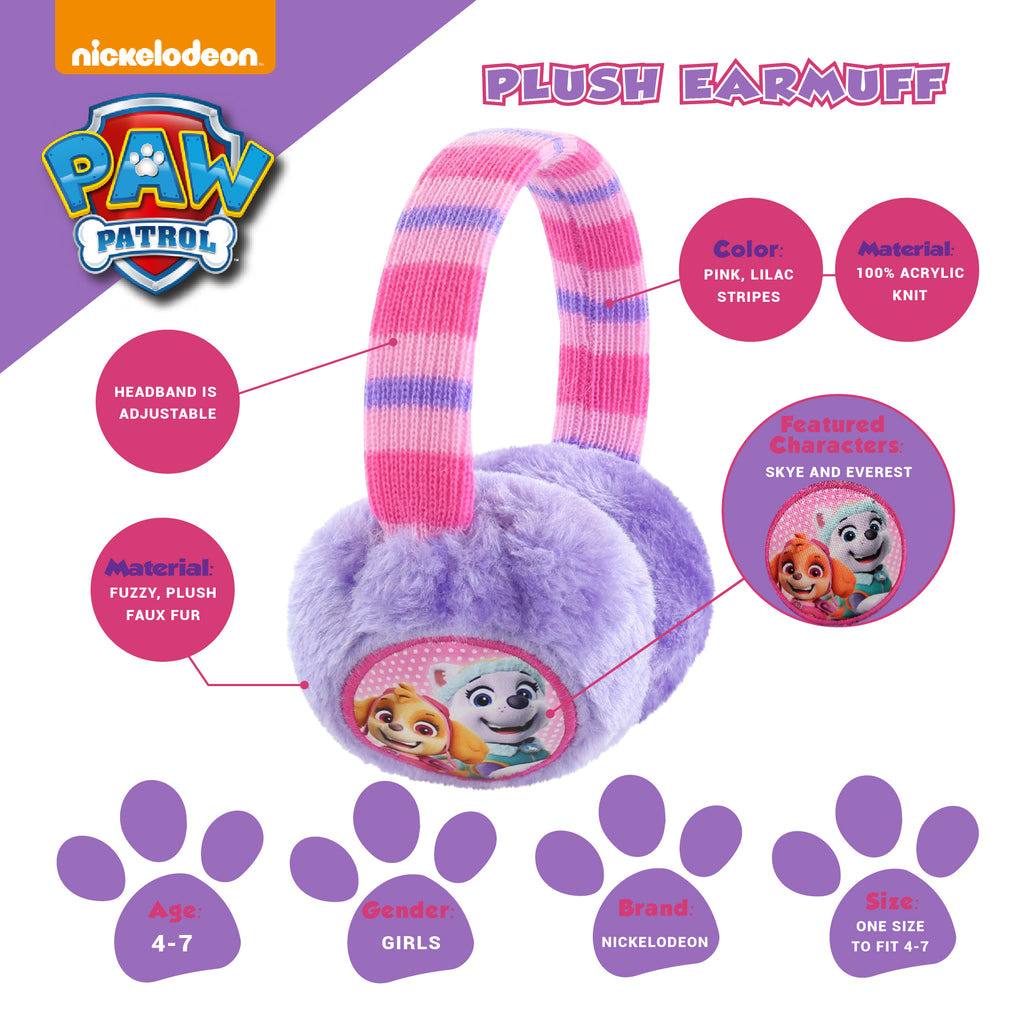 Nickelodeon Paw Patrol Earmuff and Glove Cold Weather Set, Little Girls, Age 4-7 - Accessory Place