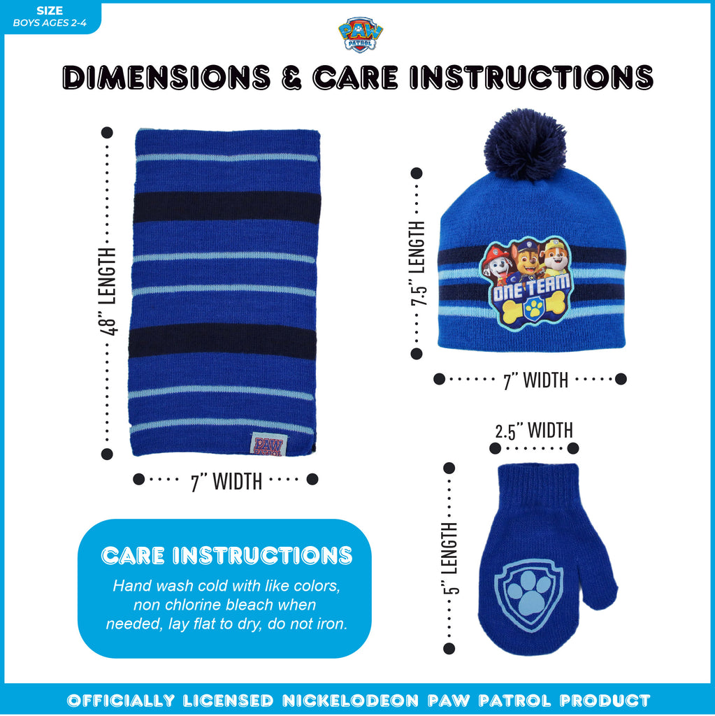 Nickelodeon Paw Patrol Hat, Scarf and Mittens or Gloves Cold Weather Set, Toddler Boys, Age 2-4 or Little Boys, Age 4-7 - The Accessories Outlet