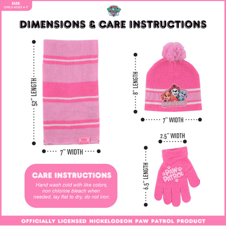 Nickelodeon Paw Patrol Hat, Scarf and Gloves or Mittens Cold Weather Set, Toddler Girls, Age 2-4 or Little Girls, Age 4-7 - The Accessories Outlet