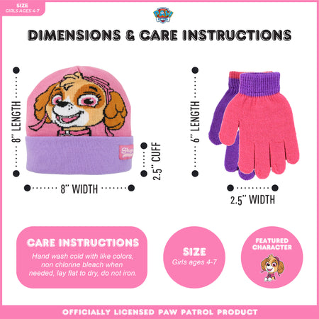 Nickelodeon Paw Patrol Reversible Hat and 2 Pair Mittens or Gloves Cold Weather Set, Toddler Girls, Age 2-4 or Little Girls, Age 4-7 - The Accessories Outlet