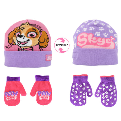 Nickelodeon Paw Patrol Reversible Hat and 2 Pair Mittens or Gloves Cold Weather Set, Toddler Girls, Age 2-4 or Little Girls, Age 4-7 -