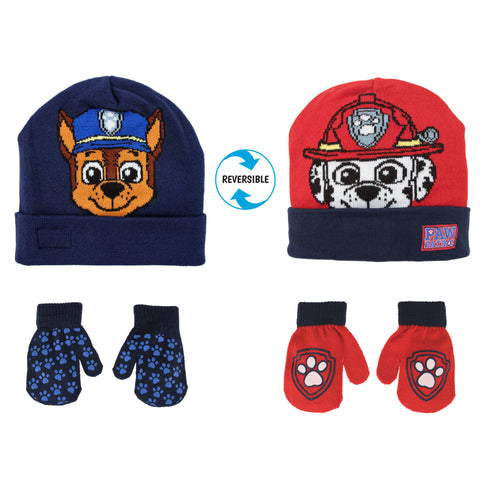 Nickelodeon Paw Patrol Reversible Hat and 2 Pair Mittens or Gloves Cold Weather Set, Toddler Boys, Age 2-4 or Little Boys Age 4-7