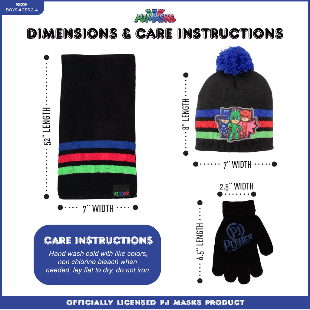 Disney PJ Masks Hat, Scarf and Mitten or Glove Cold Weather Set, Toddler Boys, Age 2-4 or Little Boys Age 4-7 - The Accessories Outlet
