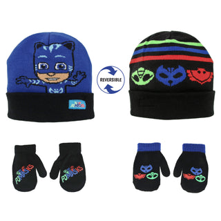 Disney PJ Masks Reversible Hat and 2 Pair Mitten or Glove Cold Weather Set, Toddler Boys, Age 2-4 or Little Boys Age 4-7