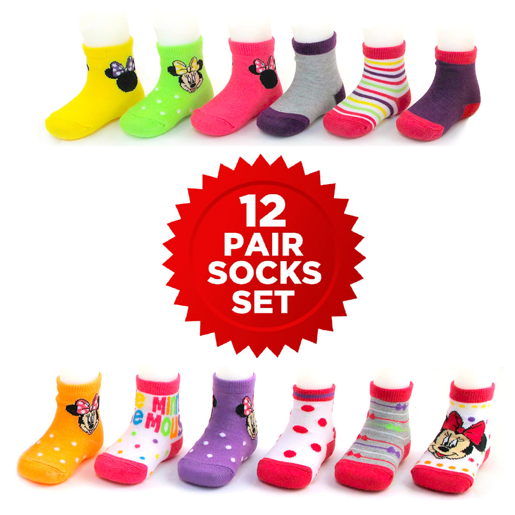 Disney Minnie Mouse 12 Pair Assorted Color Socks Set, Baby Girls, Age 0-24M - The Accessories Outlet