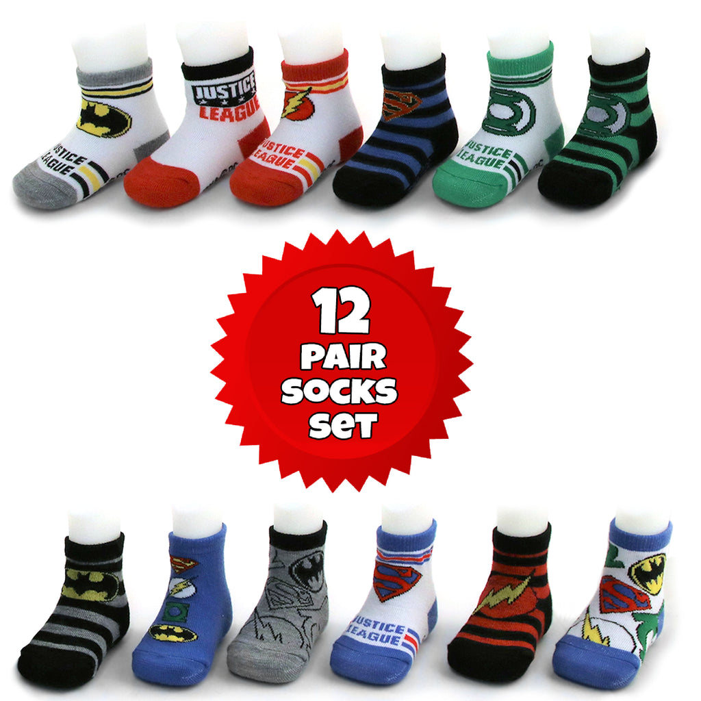 DC Comics Justice League Characters 12 Pair Socks Set, Baby Boys, Age 0-24 Months - The Accessories Outlet