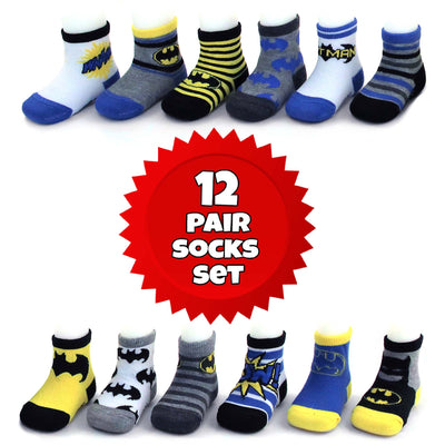 DC Comics Batman Character 12 Pair Socks Set, Baby Boys, Age 0-24 Months - The Accessories Outlet