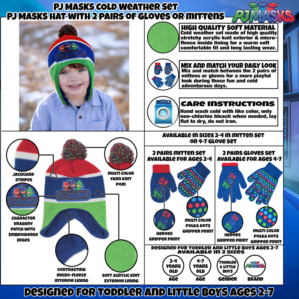 PJ Masks Hat and 2 Pair Mitten or Gloves Cold Weather Set, Little Boys, Age 2-7 - The Accessories Outlet