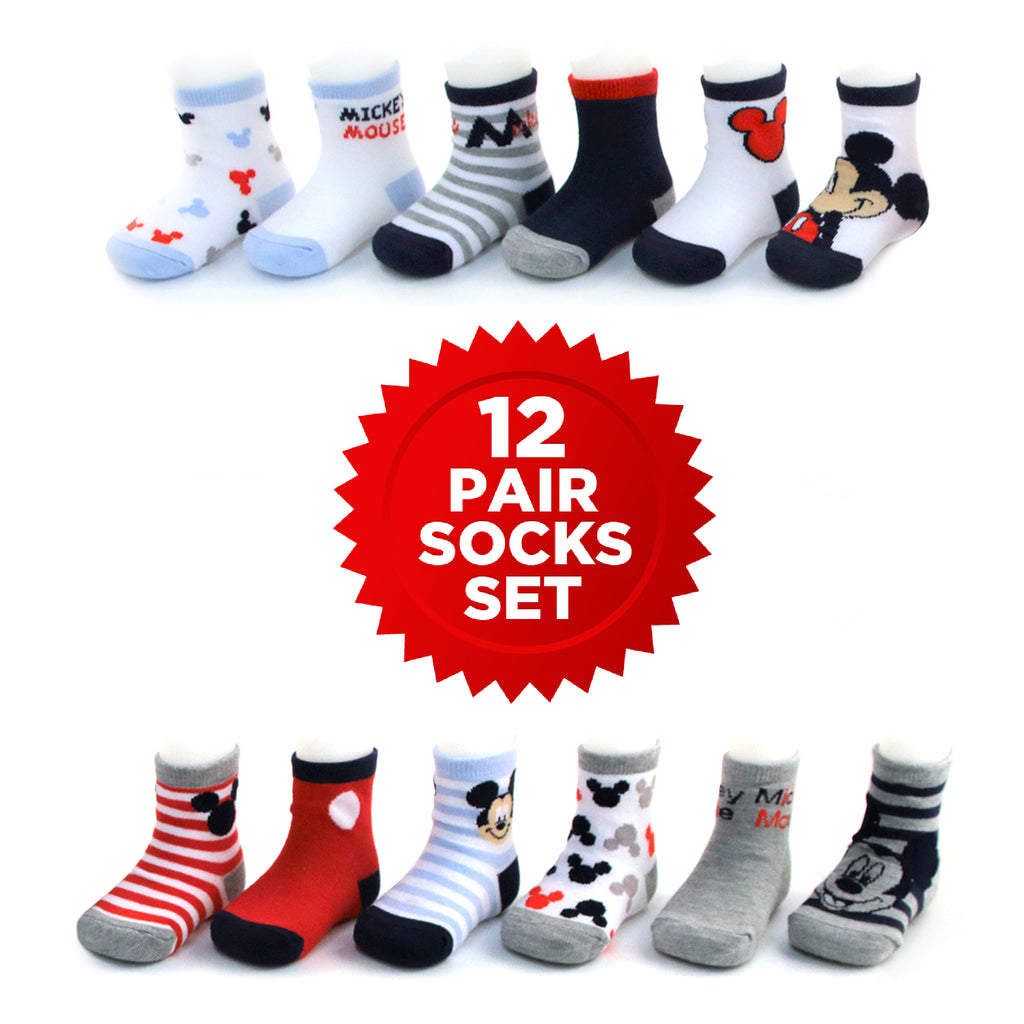 Disney Mickey Mouse Assorted Colors 12 Pair Socks, Baby Boys , Age 0-24M - The Accessories Outlet