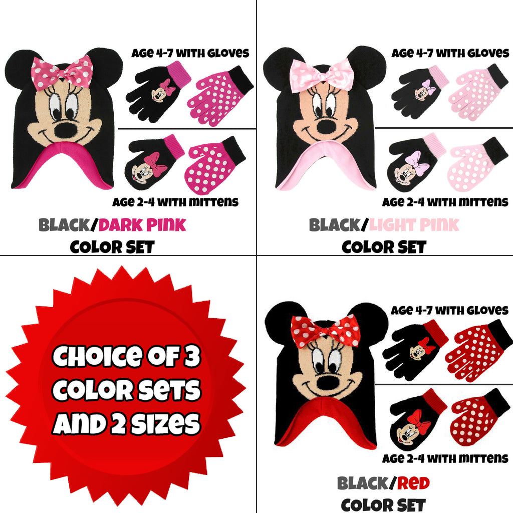 Disney Little Girls Minnie Mouse Polka Dot Hat and 2 Pairs Mittens/Gloves Cold Weather Set, Ages 2-7 - The Accessories Outlet