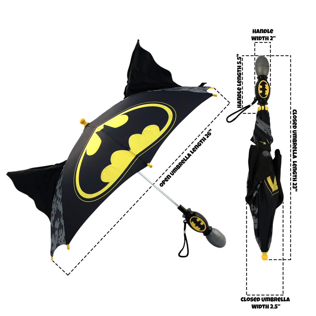 DC Comics Batman Little Boys 'Squeeze and Flap' Fun Rainwear Umbrella, Black, Age 3-7 - The Accessories Outlet