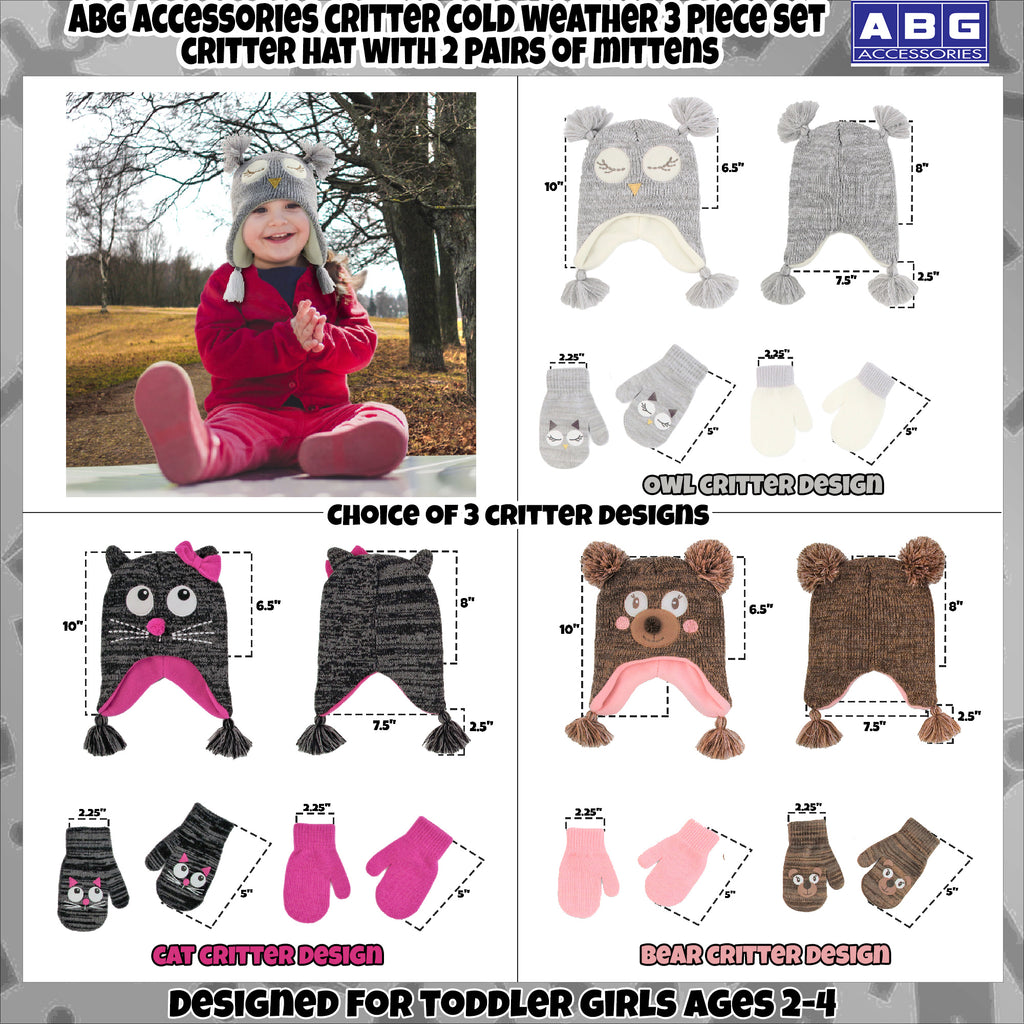 ABG Accessories Critter Design Hat and 2 Pair Mittens or Gloves Cold Weather Set, Little Girls Age 2-7 - The Accessories Outlet