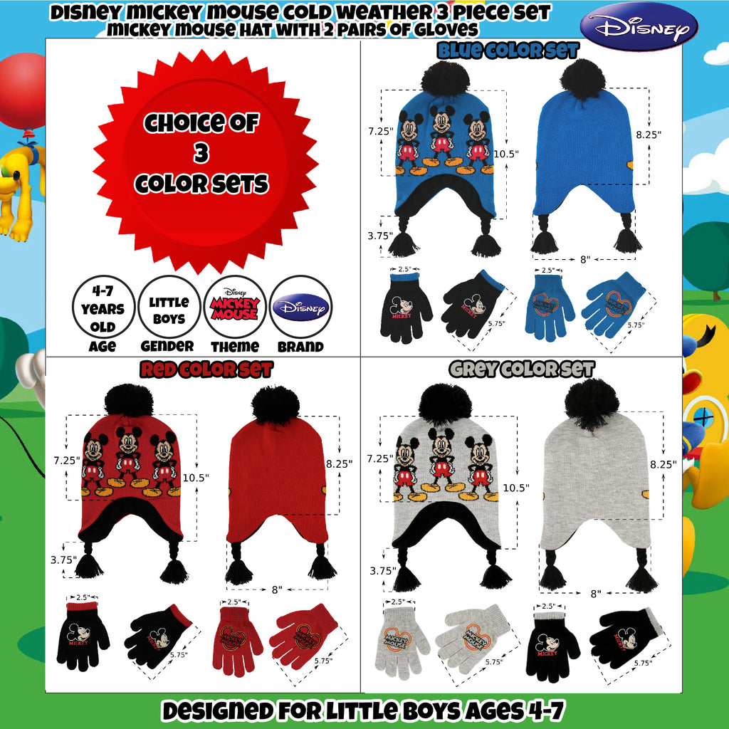 Disney Little Boys Mickey Mouse Hat and 2 Pair Gloves/Mittens Cold Weather Set, Ages 2-7 - The Accessories Outlet
