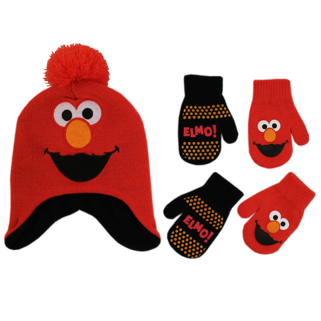 Sesame Street Elmo Hat and 2 Pair Mittens Cold Weather Set, Toddler Boys, Age 2-4