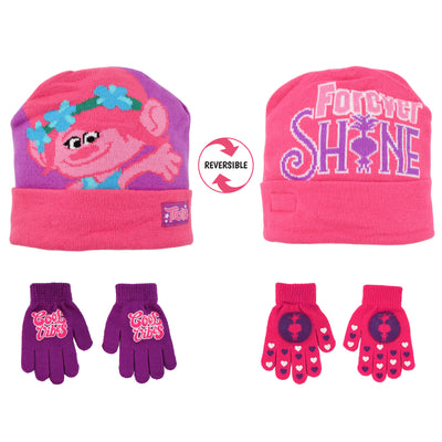 Trolls Poppy Reversible Hat and 2 Pair Gloves Cold Weather Set, Little Girls, Age 4-7 - The Accessories Outlet
