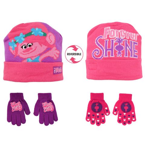 Trolls Poppy Reversible Hat and 2 Pair Gloves Cold Weather Set, Little Girls, Age 4-7 - Accessory Place
