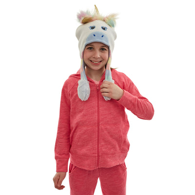 ABG Accessories Unicorn Squeeze and Flap Fun Cold Weather Hat, Little Girls, Age 4-7 - The Accessories Outlet