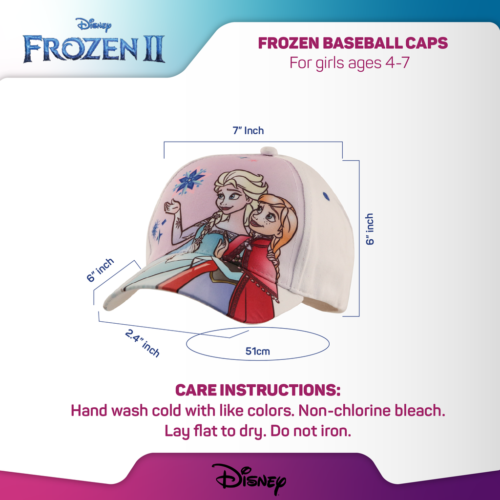 Disney Frozen II Elsa and Anna Baseball Cap, Little Girls Age 4-7 - The Accessories Outlet