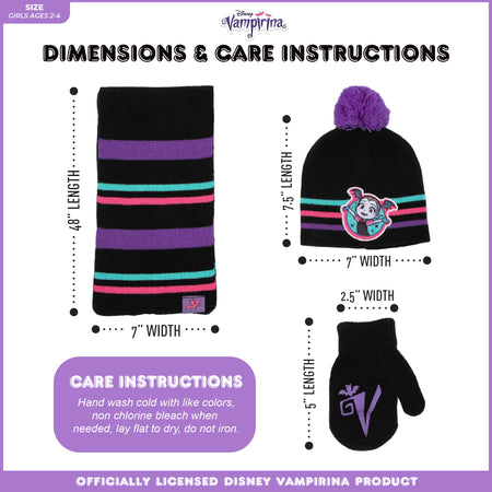 Disney Vampirina Hat, Scarf and Mitten Cold Weather Set, Toddler Girls, Age 2-4 - The Accessories Outlet