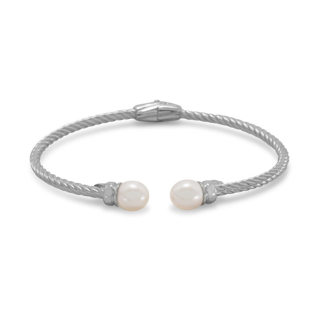 Rhodium Plated Cuff Bracelet with Cultured Freshwater Pearl Ends