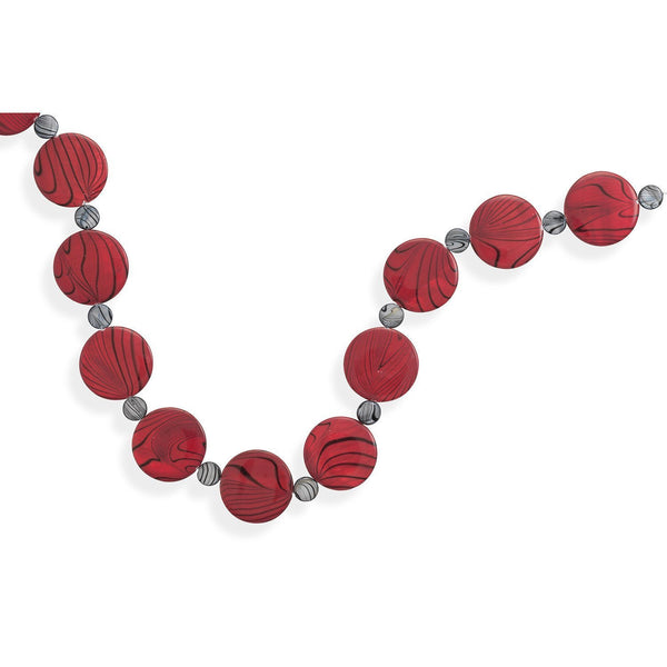 "18"" + 2"" Red and Grey Shell Disc Necklace"