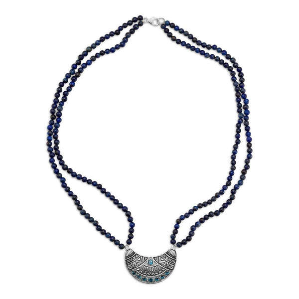"19"" Double Strand Lapis Necklace with Oxidized Topaz Pendant"
