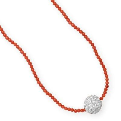 "16"" + 1"" Dyed Coral Necklace with Crystal Bead"