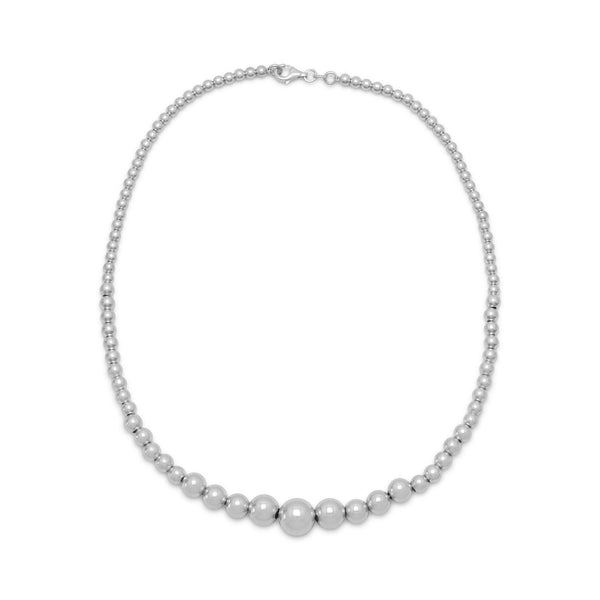 "17.5"" Rhodium Plated Graduated Bead Necklace"