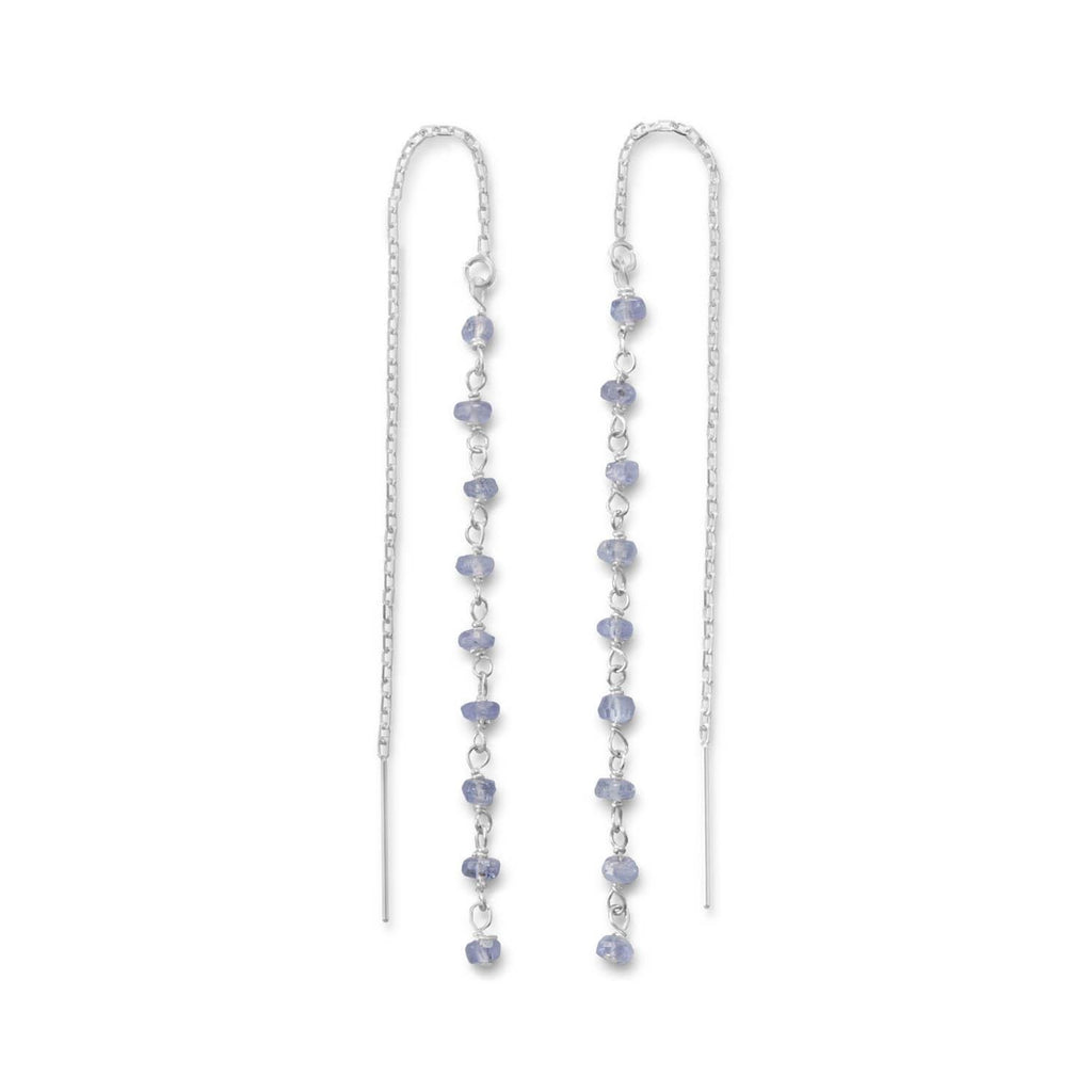Tanzanite Bead Threader Earrings