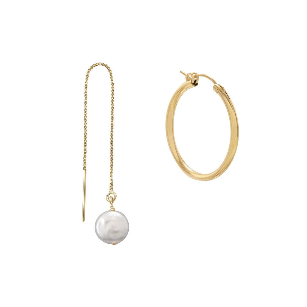 Mismatch Gold Filled Hoop and Cultured Freshwater Pearl Threader Earrings | Brittono's Collection