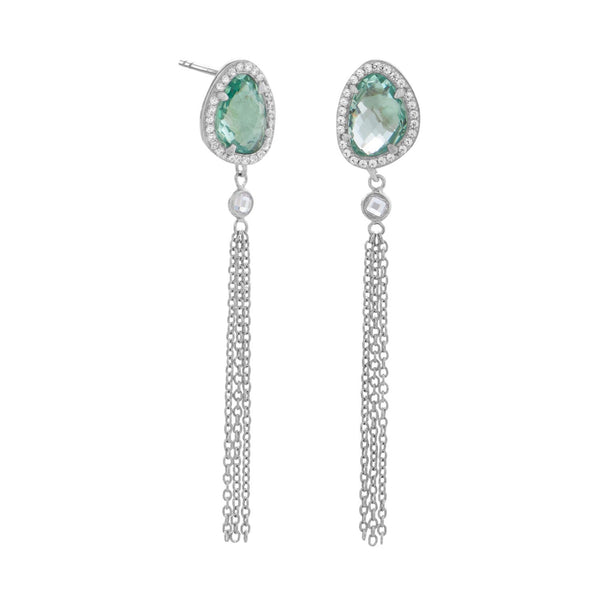 Sea Green Glass and Tassel Drop Earrings - Brittono's Collection