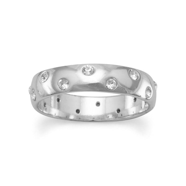 Rhodium Plated Band with Clear Rhinestones