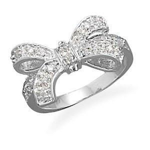 Rhodium Plated CZ Bow Ring
