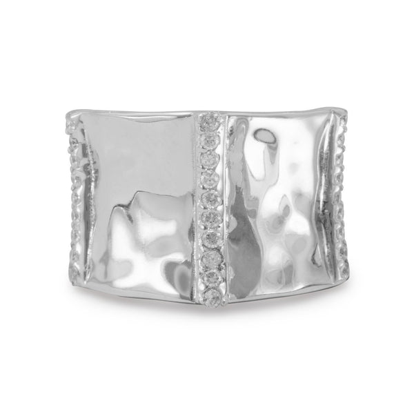 Rhodium Plated Ring with CZs | Brittono's Collection