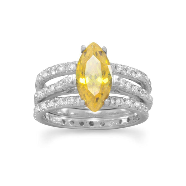 Rhodium Plated Yellow CZ Three Ring Set | Brittono's Collection