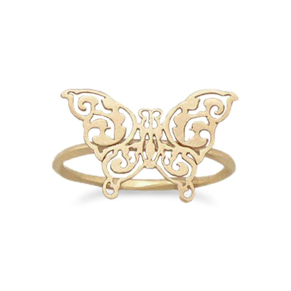 14 Karat Gold Plated Delicate Butterfly Ring | Brittono's Collection
