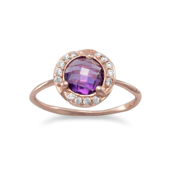 14 Karat Rose Gold Plated Purple CZ Ring | Brittono's Collection